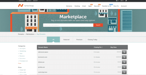 namecheap screenshot