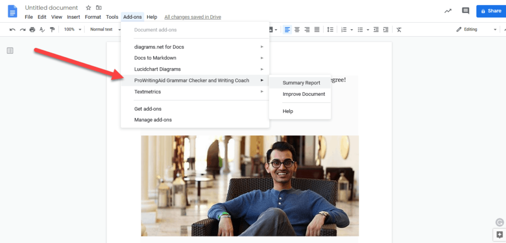prowritingaid gdocs