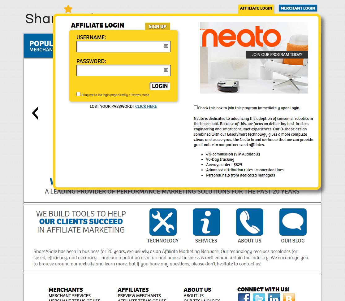 shareasale beginner affiliate homepage