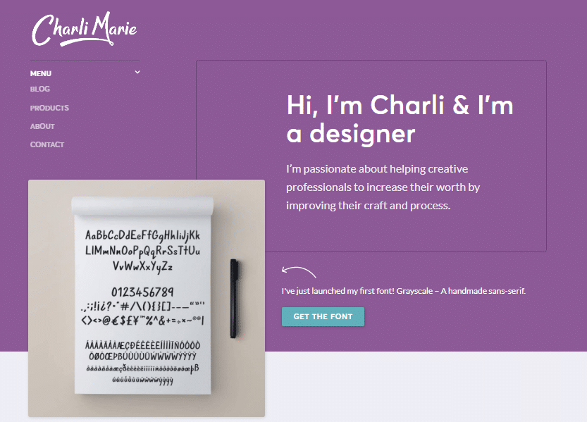 Charli Marie personal website ideas