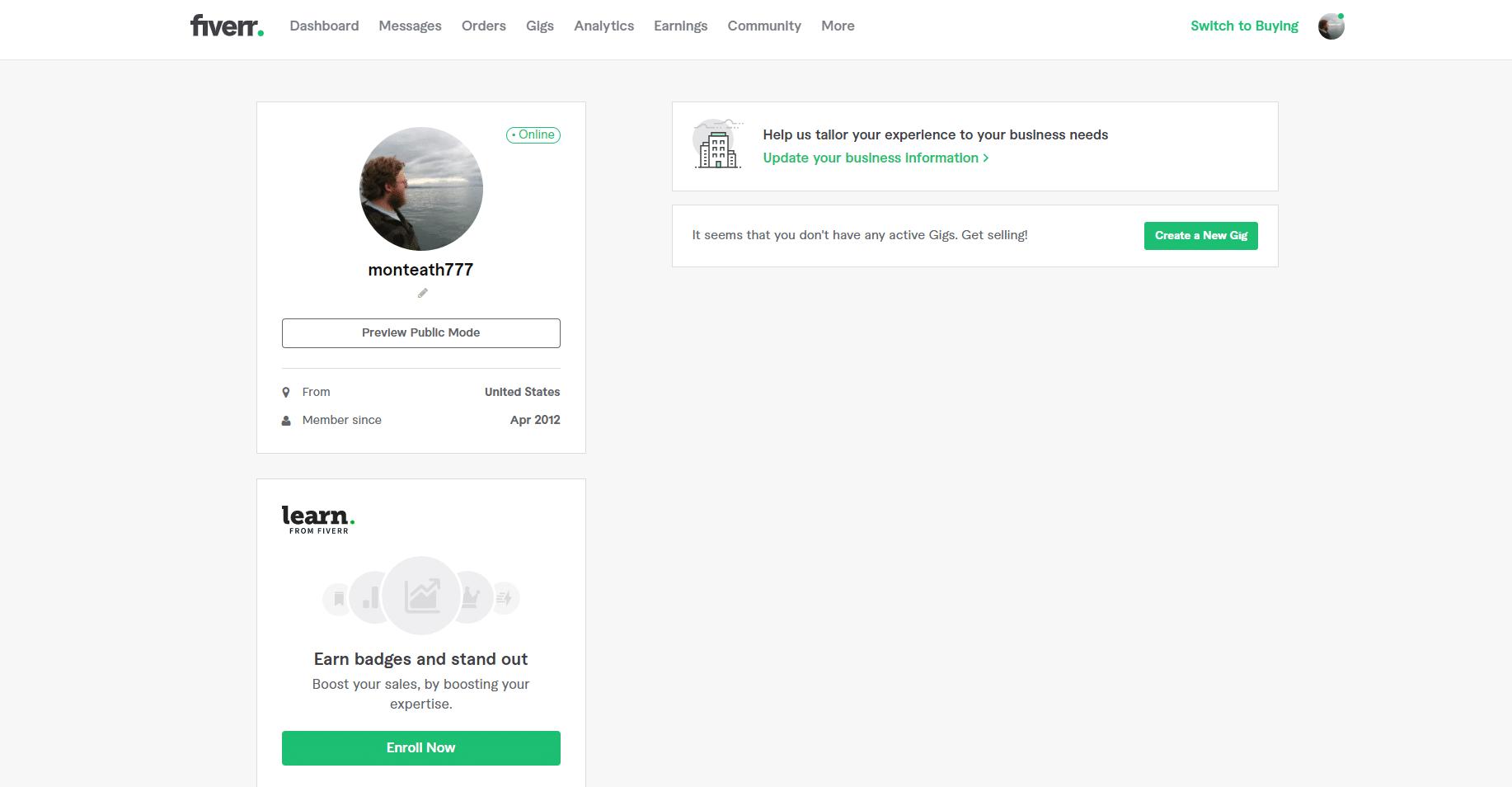bare bones Fiverr profile