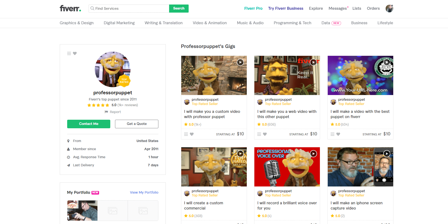 professor puppet fiverr gig