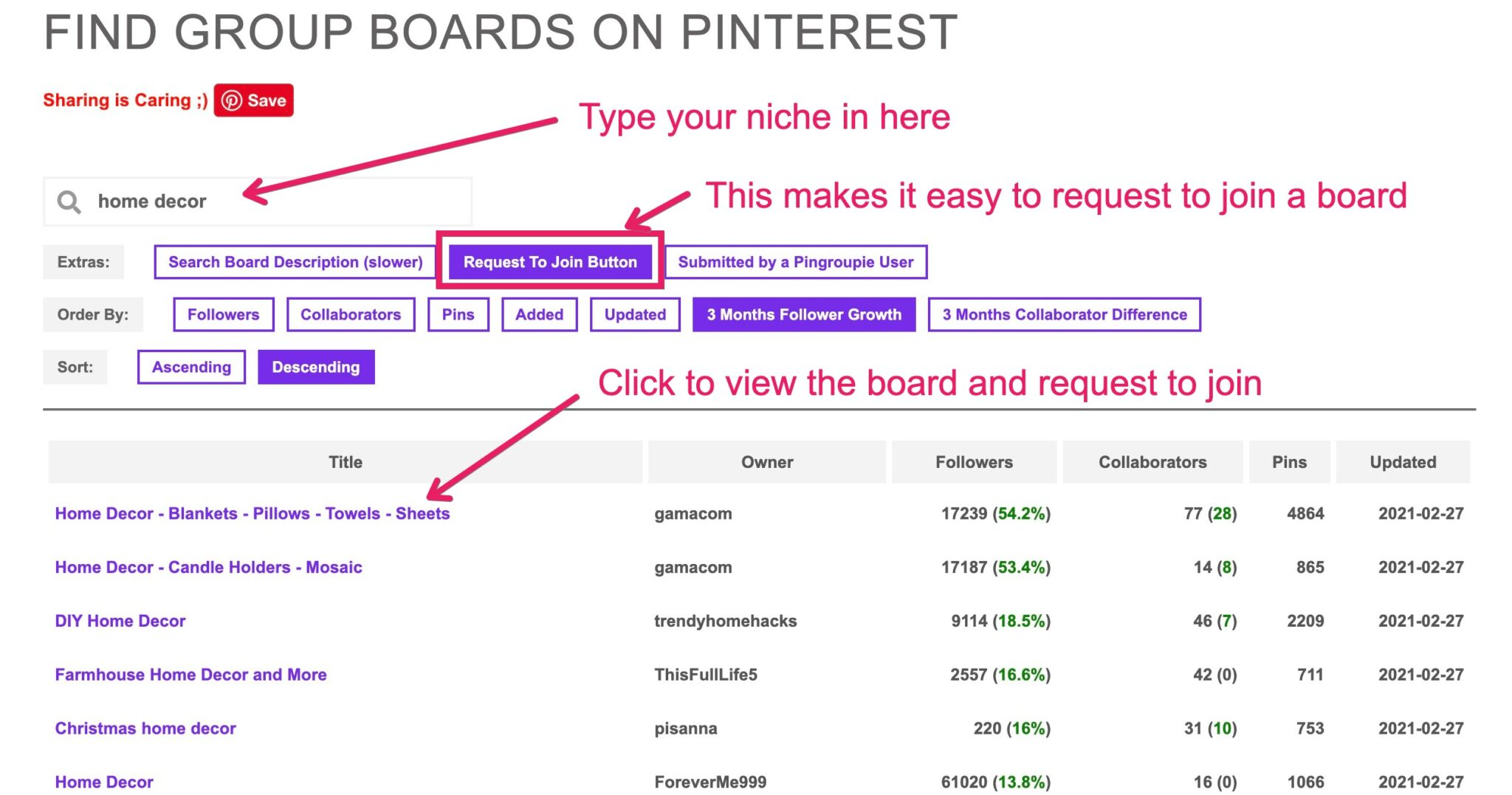 how to grow pinterest following