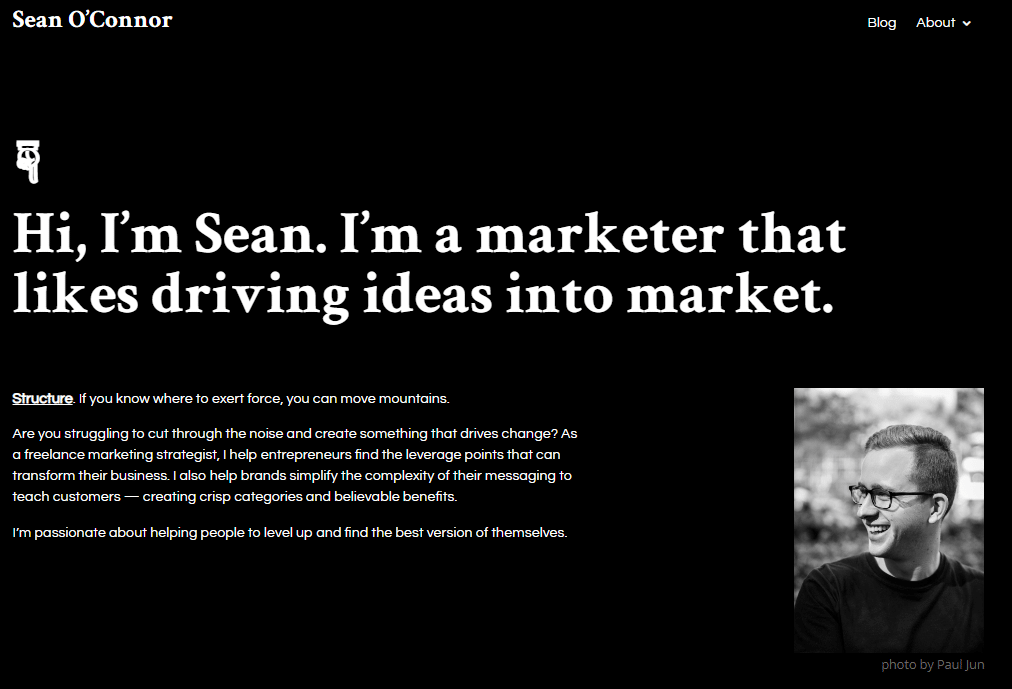 Sean O'Connor personal website design