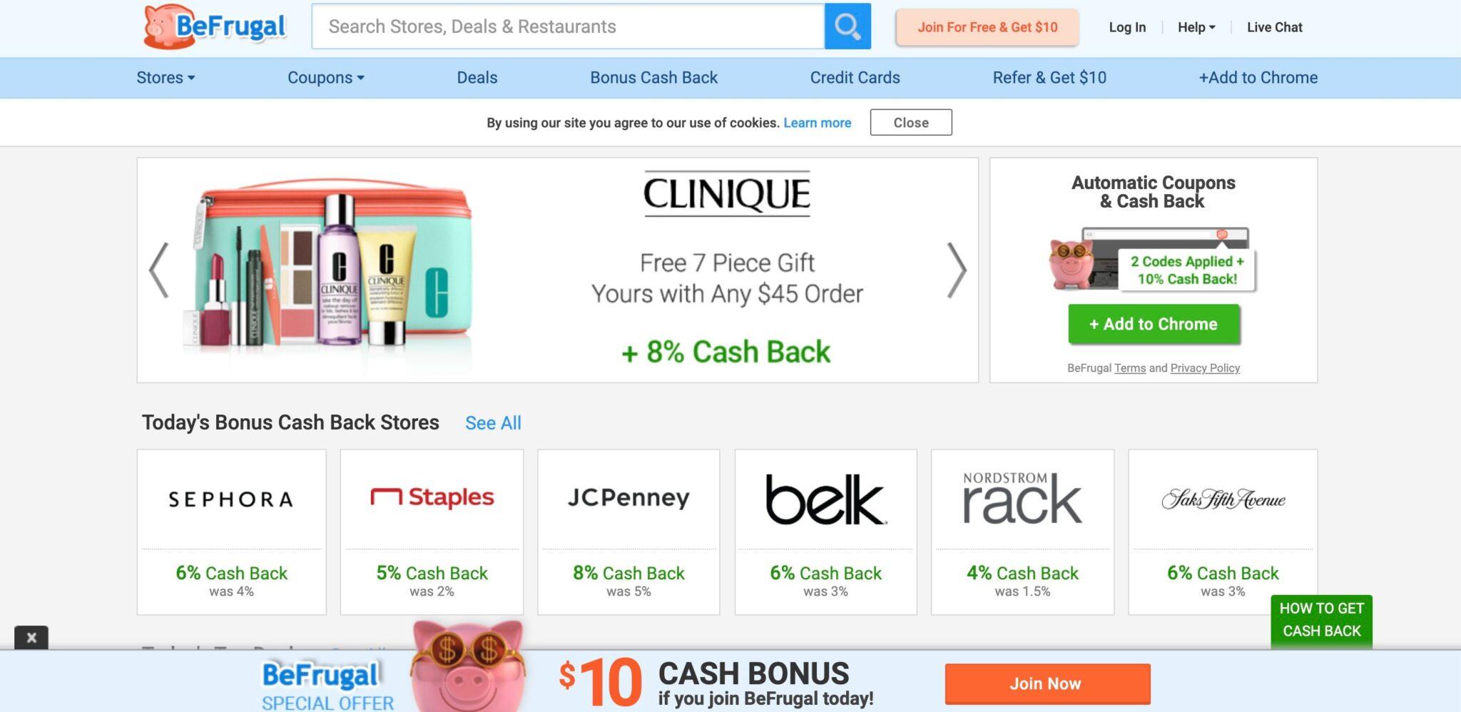 BeFrugal coupon affiliate programs screenshot