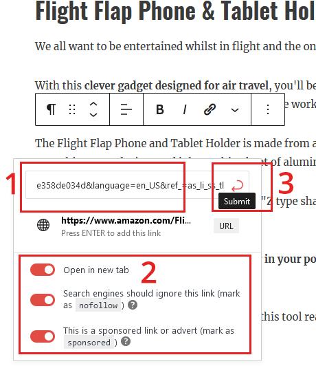 masquer le lien d'affiliation sans site Web