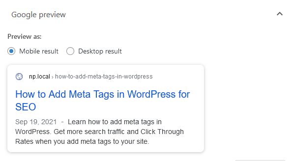 yoast google mobile snippet preview