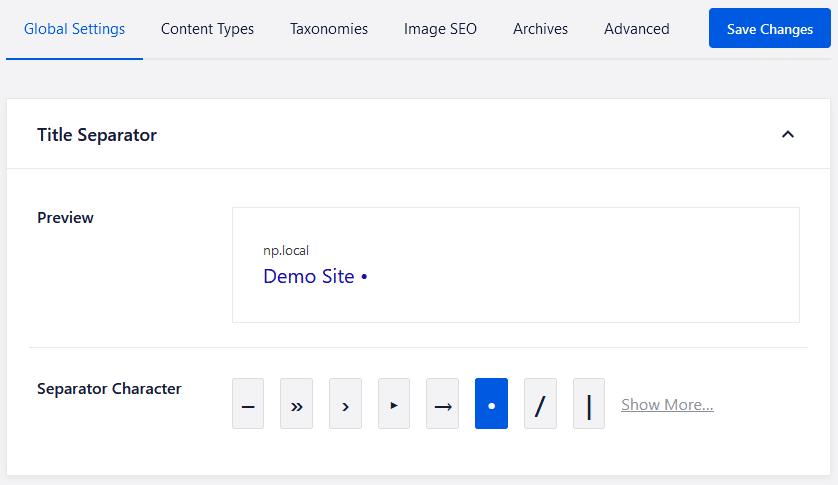 aioseo default meta tag separator