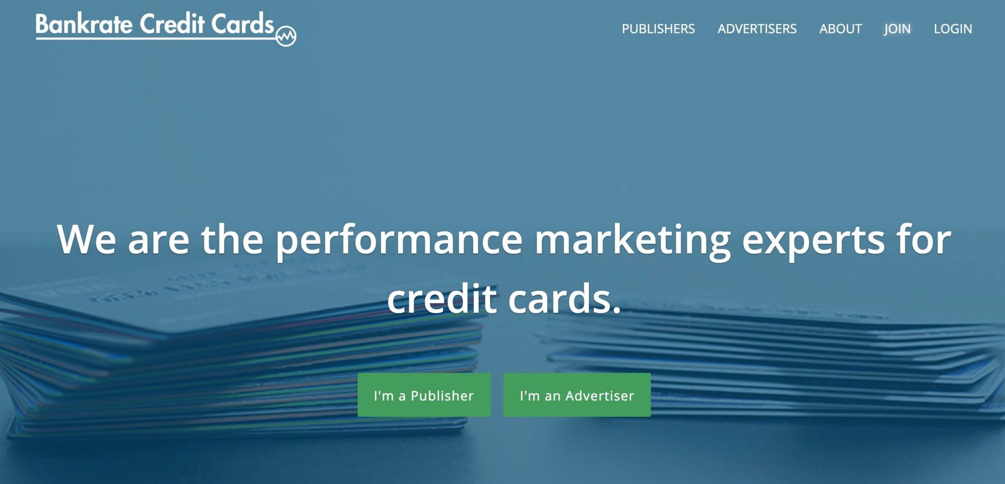 Capture d'écran du programme d'affiliation de carte de crédit Bankrate