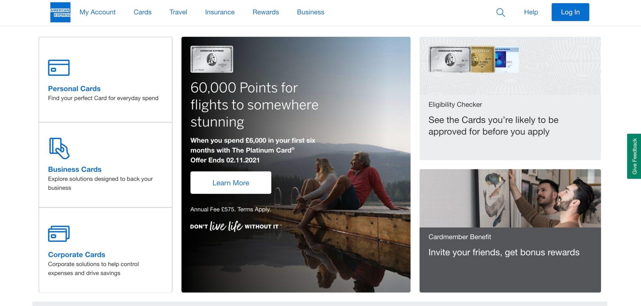 Page d'accueil du site d'American Express