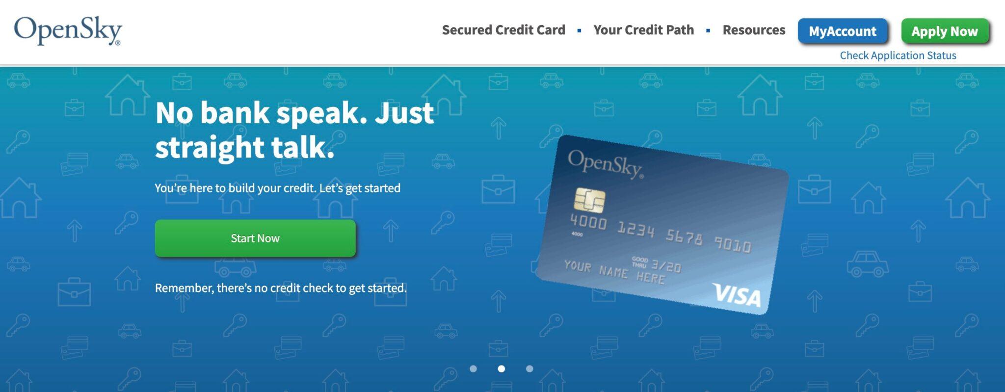 Page d'accueil du programme d'affiliation de carte de crédit Opensky