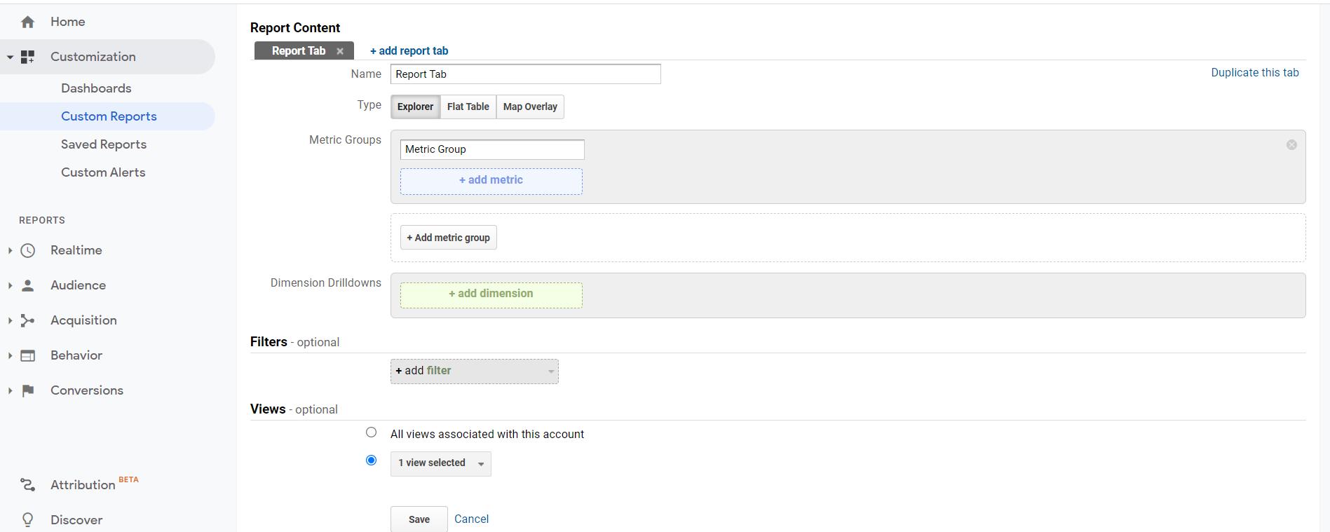Capture d'écran de la section de rapport personnalisé Google Search Console vs Google Analytics.