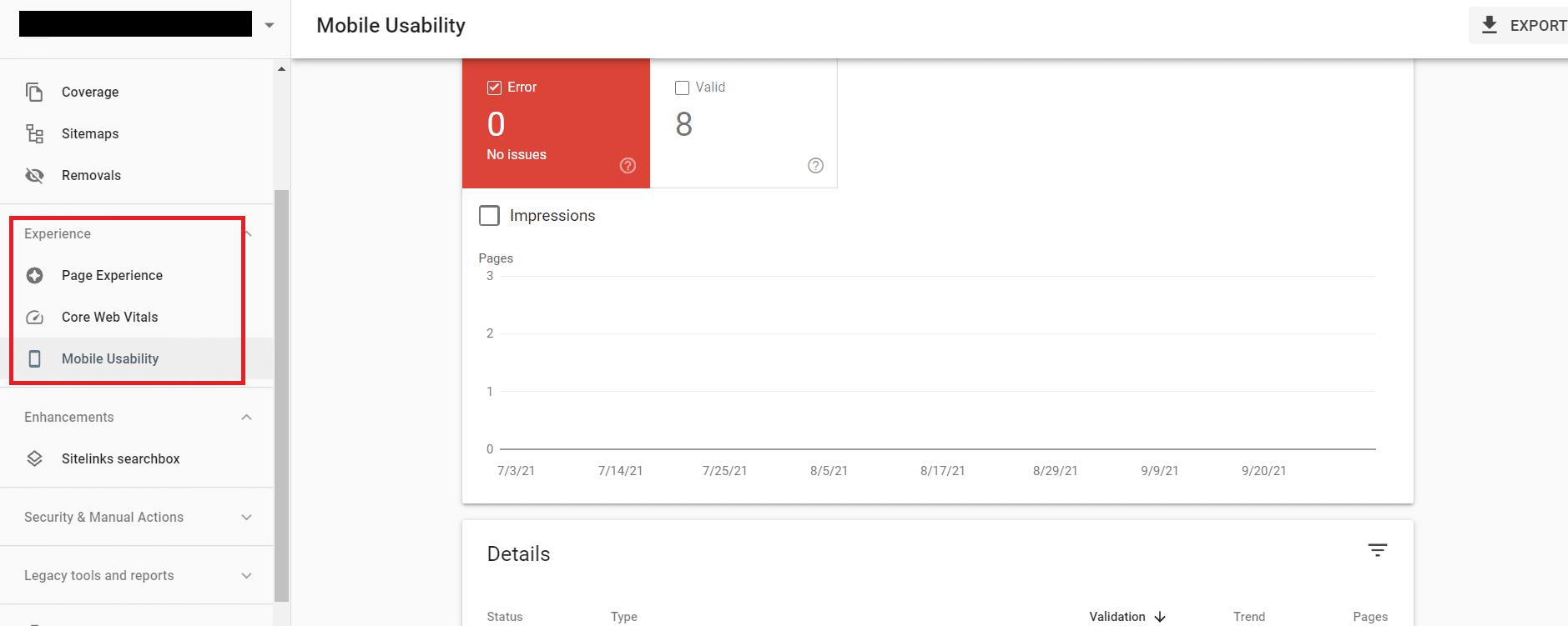 Capture d'écran de la page d'optimisation de la console de recherche Google.